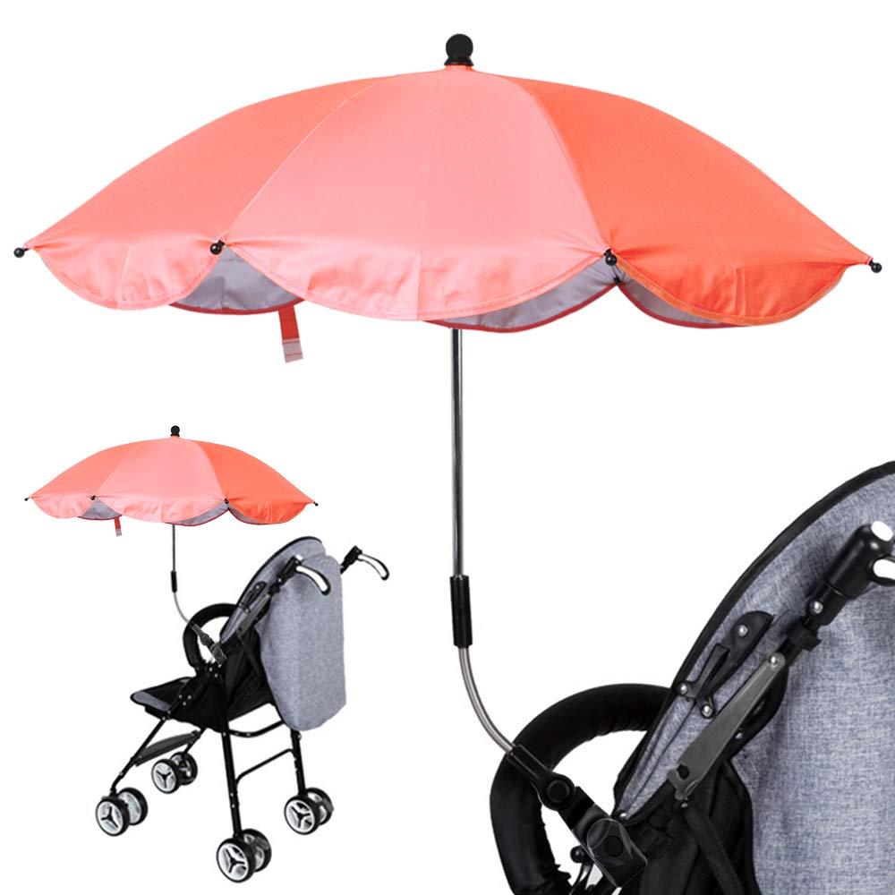 Sombrilla Universal Carrito de Bebé, Paraguas Sombrilla Parasol para Cochecito y Silla de Paseo con UV Protección 360 Grados de Dirección Ajustable ...
