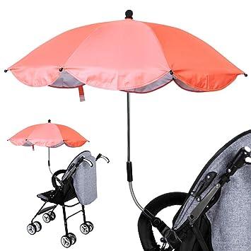 Luzoeo Sombrilla Universal Carrito de Bebé Paraguas Sombrilla Parasol para Cochecito Silla de Paseo 360 Grados Ajustable con UV Protección el Bebés y ...