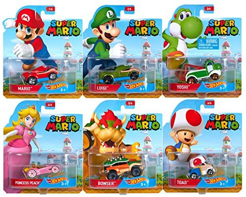 2016 Hot Wheels Set of 6 Super Mario 1/64 Character Cars Collectible Die Cast Toy Car Models