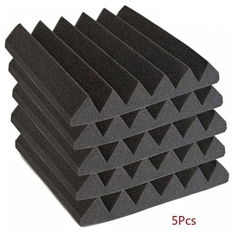 5 paneles de espuma acústica a prueba de sonido, baldosas de espuma para silenciador