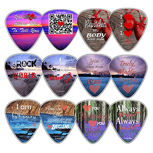 Creanoso Unique Guitar Picks (12-Pack) - I Love You Valentines Loving You Sweet Heart Unique Cool Romantic Gifts Cool Collectible - Premium Music Gifts & Guitar Accessories for Boys Son Men Him (Girls Picks Rock Guitar)