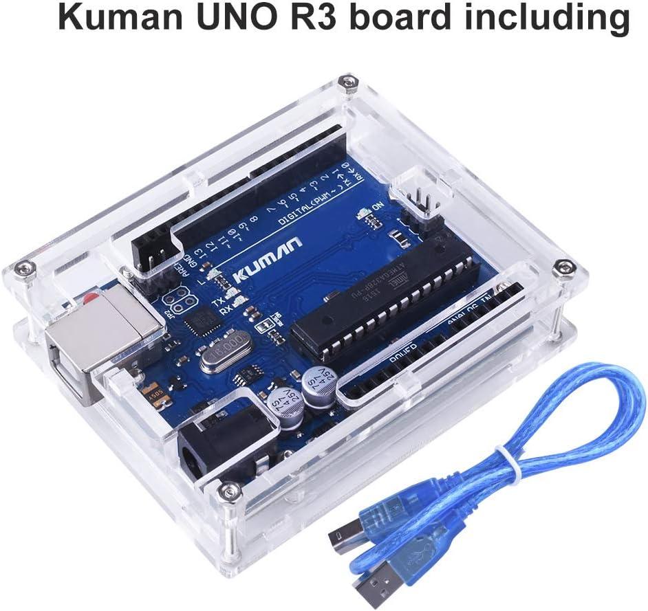 Para Arduino Kuman Placa Uno R3 ATmega328P + Uno R3 Cáscara Nueva ...