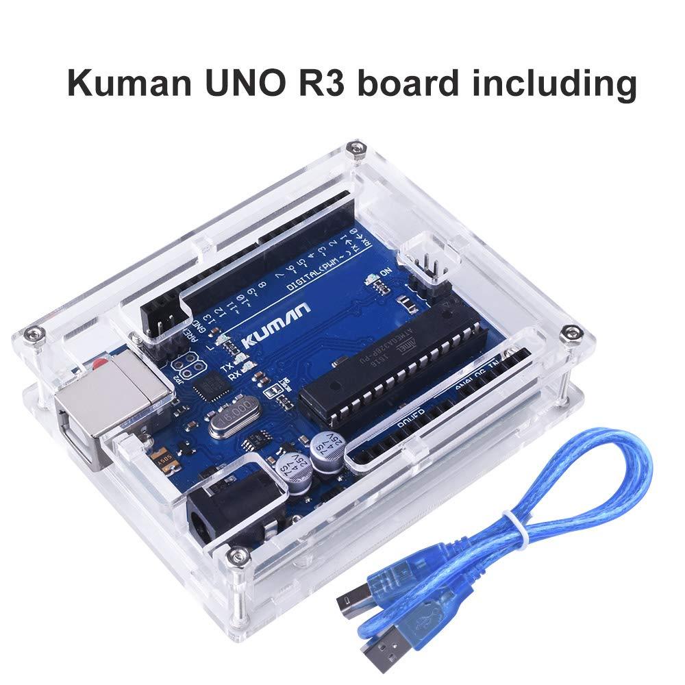 Para Arduino Kuman Placa Uno R3 ATmega328P + Uno R3 Cáscara Nueva Brillo Transparente de Acrílico Caja de Computadora Compatible con Arduino UNO R3 W ...