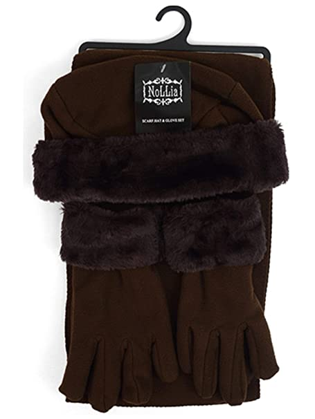 491fdff15ca Women s Brown Solid Polyester Fleece 3-Piece gloves scarf Hat Winter Set  WSET60 at Amazon Women s Clothing store