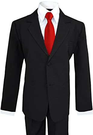 09c6dea24a71 Amazon.com: Big Boys Black Suit with Vibrant Red Long Neck Tie (6 ...