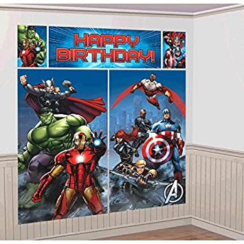 Amazoncom New Art AVENGERS SCENE SETTER Happy Birthday Party