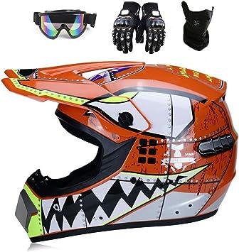 Yxcxy Hai Motocross Helm Motorradhelm Kinderhelm Cross Fullface Helm Motorradhelm Schutzhelm Set Downhill Mtb Quad Bmx Atv Helm Geschenke Schutzbrille Maske Handschuhe Orange S Auto