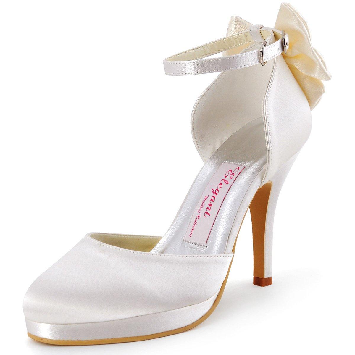 ElegantPark AJ091-PF Women Closed Toe High Heels Ankle Strap Buckles Bow  Platform Satin Wedding Party Shoes  Amazon.co.uk  Shoes   Bags 8f70b1453a44
