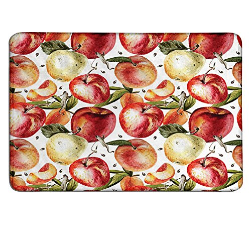Peach patterned mouse pad Watercolor Style Apples with Green Leaves and Tasty Slices Clean Eatingcustomized mouse pad Orange Cream Olive Green ()