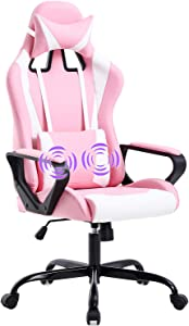PC Gaming Chair Massage Office Chair Ergonomic Desk Chair High Back PU Leather Executive Rolling Adjustable Racing Computer Chair with Lumbar Support Headrest Armrest Swivel Task Chair(Pink)