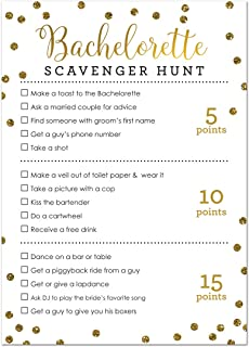24 Cnt Bachelorette Scavenger Hunt Game Faux Gold Glitter Foil On WHITE
