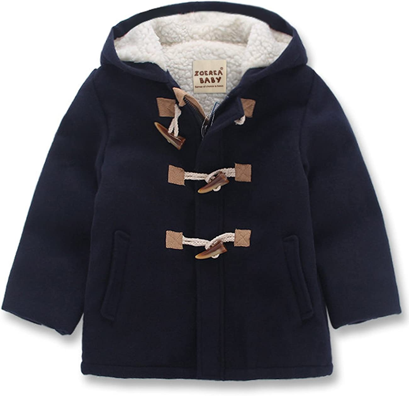 ZOEREA Boy Girls Unisex Babys Fashion Hooded Jacket Kids Toggle Wool Coat with Velvet