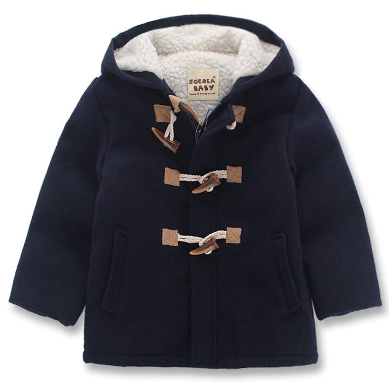 ZOEREA Little Boy's Fashion Hooded Jacket Kids Wool Toggle Coat for 2-8T YS2219
