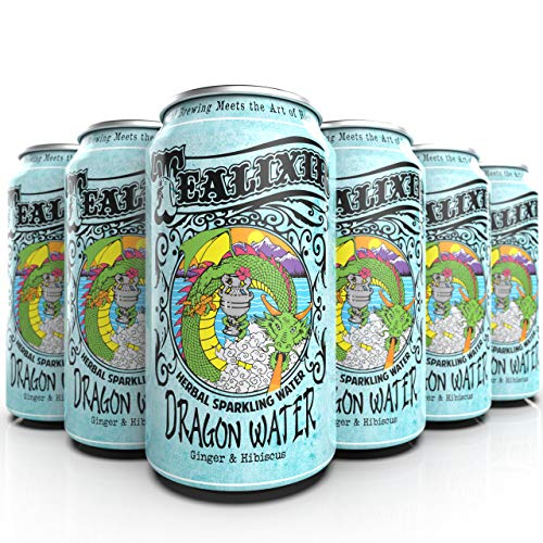 TEALIXIR HERBAL SPARKLING WATER - Dragon Water - Inspired By Traditional Chinese Medicine, This Herbal Water Features Ginger & Hibiscus ~ 12 PACK