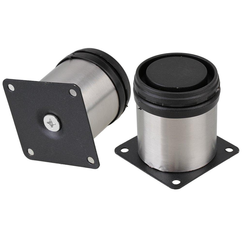 en color negro y plateado 50 x 60 mm 4 unidades Patas de Metal para muebles regulables armario de acero inoxidable redondo