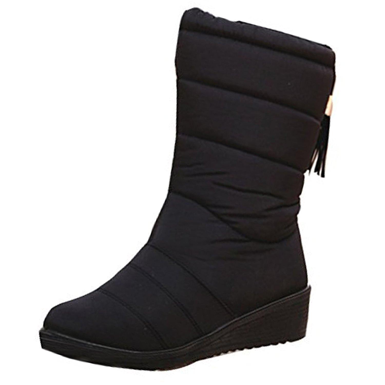 Damen Winter Freizeitschuhe Warm Gefütterte Boots Klettverschluss Winterstiefel Plateau Wander Sneakers Schuhe EU41=25.5 Rot tXRXr3