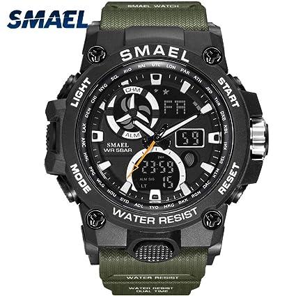 Supremc SMAEL Reloj de Cuarzo Nuevo Reloj Deportivo con Pantalla Doble Impermeable Multifunción Luminoso Calendario de
