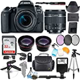 Canon EOS 77D DSLR Camera with Canon 18-55mm STM Lens Kit + 0.43x Wide Angle Lens + 2x Telephoto Lens + 32GB SD Memory Card + HD Filter Kit + Flash Diffusers + Full Premium Accessory Bundle