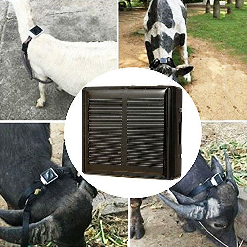 Farm Animal Solar GPS Tracker Class 12 TCP/IP 850/900/1800/1900MHz Pet Solar Locator For Cow Horse Sheep Dog Tracker RF-V26 Car-styling Animal Anti-lost Locator Black (Gps Tracking For Animals)