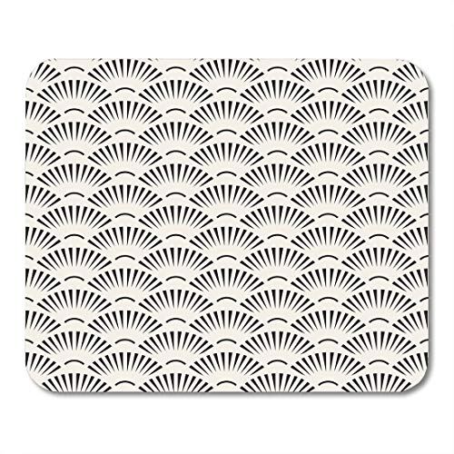 Boszina Mouse Pads Creative Japanese Black and White Sunburst Lines Fan Shape Pattern Abstract Burst Eastern Mouse Pad for notebooks,Desktop Computers mats 9.5