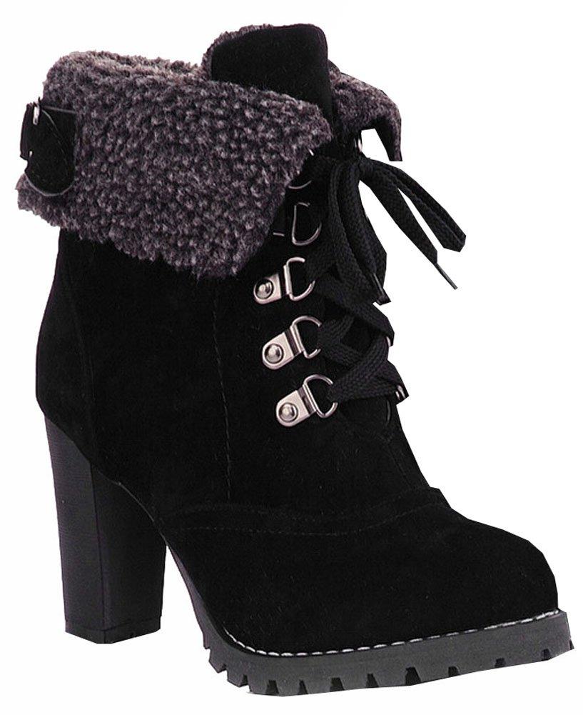 Bottes Mode féminine Talons Noir garder cheville à Platform lacets Bottes de neige Platform Pumps garder femmes bottes chaudes Noir b95d251 - robotanarchy.space
