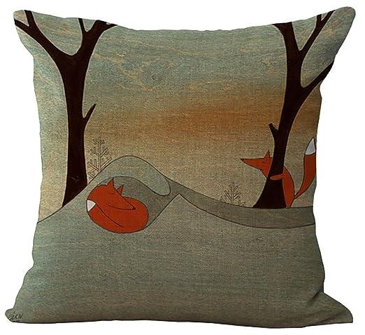 Cojín, diseño de zorro Cartoon womao lino y algodón almohada ...