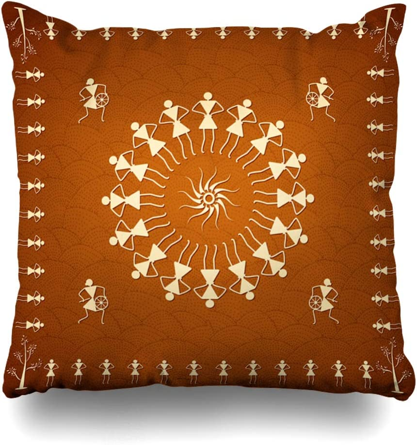Ahawoso Throw Pillow Cover Square 18x18 Inches People Decorate Dancing Rural Warli Style Old Thailand India Design Textures Handcraft Masterpiece Decorative Pillowcase Home Decor Cushion Pillow Case