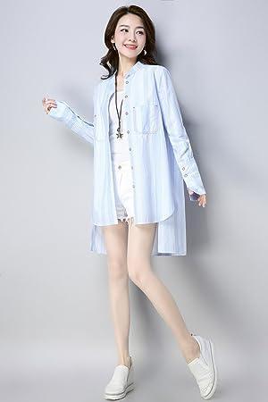Mayihang Blusa Camisa Señoras desgaste Collar de la camisa blanca suelta un solo resorte,Blue