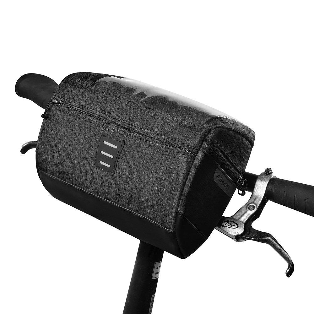 Roswheel 3L Borsa manubrio Poliestere 300D Ciclismo Cestino Anteriore Borsa da manubrio con un interfaccia luce anteriore della bicicletta e borsa per cellulare touch screen in PVC