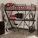 Black Modern Metal Bunk Bed Loft with Desk   Perfect Contemporary Space Saving Bed and Sturdy Study or Storage Desk Furniture Set for Your Child, Teen Boys or Students   Spacious Desk Space for a PC, Laptop, Netbook and School Supplies