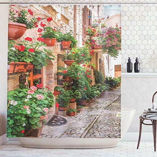 Ambesonne Tuscan Decor Shower Curtain Set, Street View of A Small Renaissance Town with Floral Porches and Rock Houses Mediterranean Art, Bathroom Accessories, 69W X 70L Inches, Green Sand ()