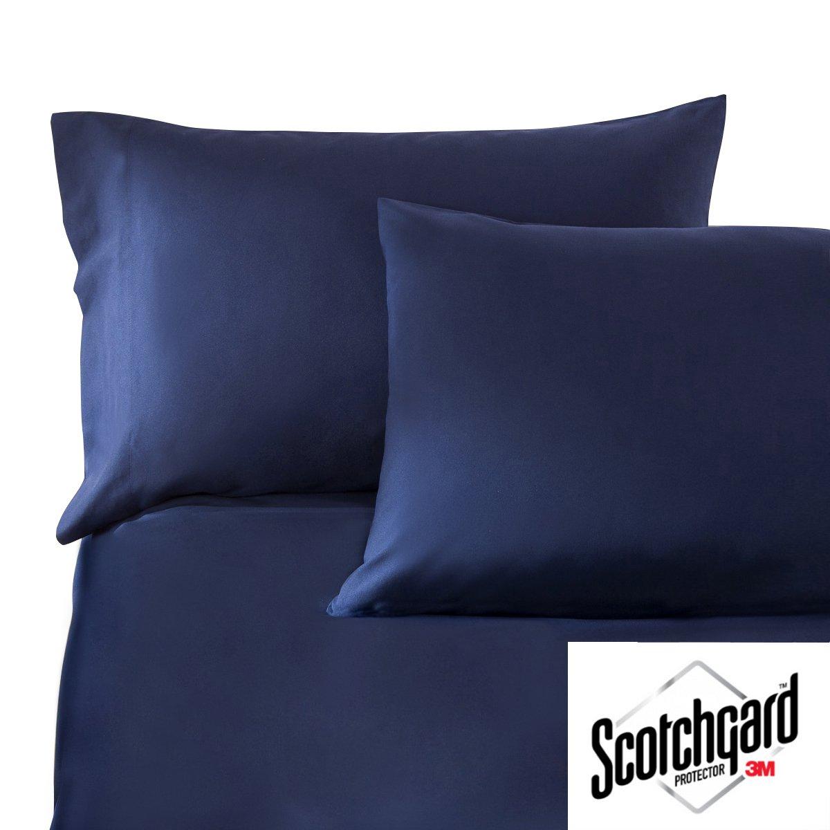 HONEYMOON HOME FASHIONS King Navy 3M Scotchgard Bed Sheet Set