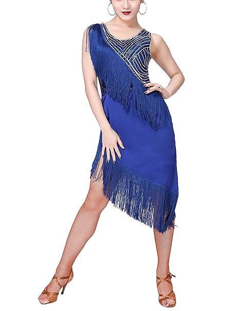403b50756 Zhhlaixing Mujer Lentejuelas Borla Disfraz de Baile Latino Vestido ...