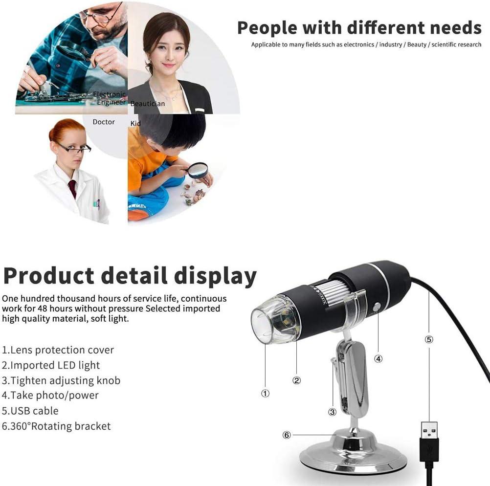 BUCHAONAO Portable 50X-1000X USB Digital Microscope Magnification 8-LED Mini Microscope Endoscope Camera Magnifier with Stand Compatible WIDOWS//MAC