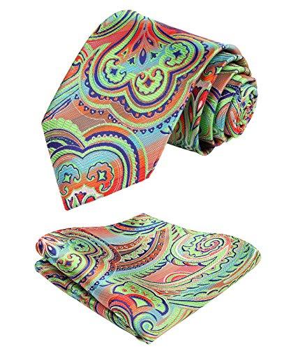 Enmain Paisley Floral Jacquard Woven Men's Wedding Silk Tie Pocket Square Necktie Set Green/Orange/Purple