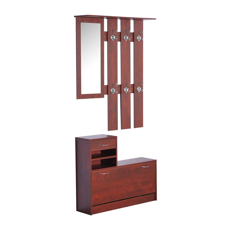 New Coffee 2pc Entryway Hall Coat Rack Shoe Storage Bench Organizer Cabinet Shelf w/ Mirror by totoshop