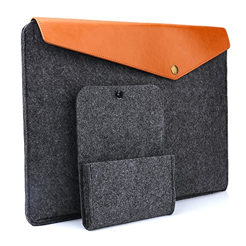Devinal 15-15.6 Inch Sleeve Bag/ Protective Felt Case Cover with Felt Storage Pouch Bag for Apple 15' MacBook Pro/ MacBook Pro with Retina/ Most Popular 15-15.6' Macbooks/ Laptops/ Notebooks(Gray)