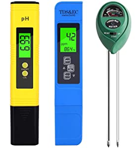 PH Meter, TDS PPM Meter, Soil PH Tester, PH/EC Digital Kit, 3 Pack