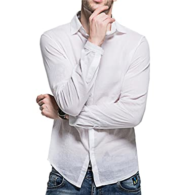 fc218a492c21 Juqilu Men s Shirts Ultra-Thin Light Washed Linen Cotton Blend Sleeve Bands  Shirt Sexy Breathable