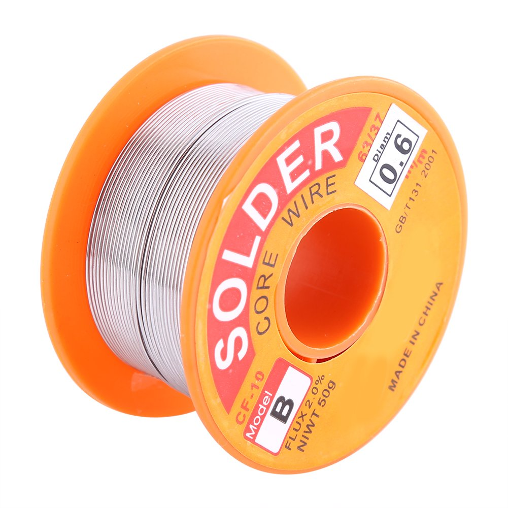 Solder Wire, 63/37 Rosin Core Solder Wire Flux 2% Tin Lead Solder Iron Welding Wire Reel (0.6/0.8/1.0mm 50g)(0.6mm 50g)
