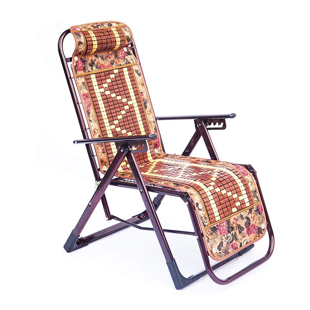 NZNB 折りたたみ椅子竹金網フル鉄補強レジャーラウンドチューブリクライニングチェア屋外ビーチチェア - 0152 B07T1CMKR7