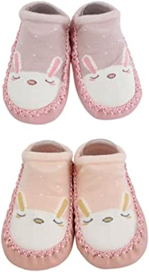 2 Pairs of Baby Boys Girls Indoor Slippers Anti-Slip Shoes Socks Bunny Cat Bear (12-18M, Pink + Peach)