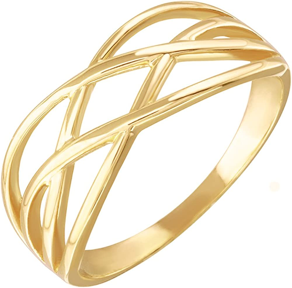 Modern Contemporary Rings High Polish 10k Yellow Gold Celtic Knot Ring for Women