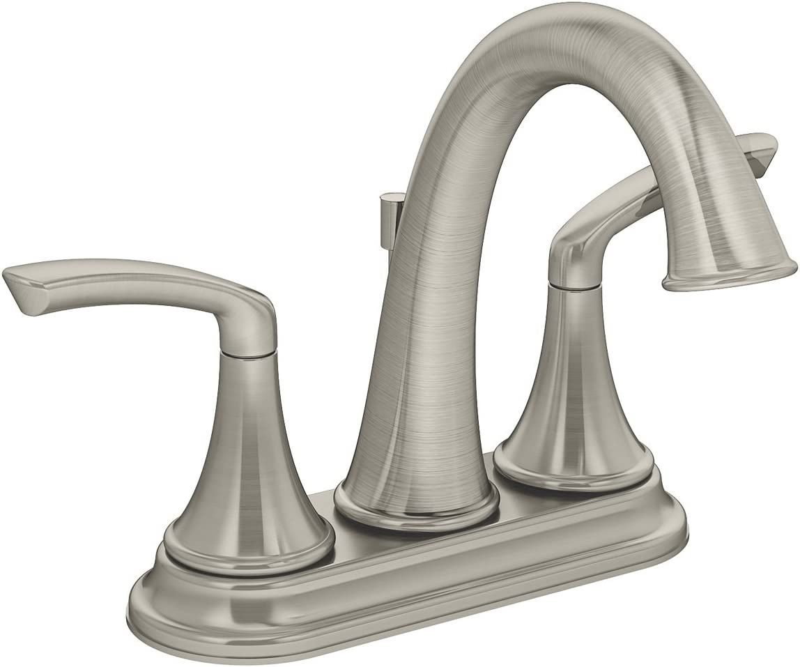 Symmons SLC-5512-STN-1.5 Elm 4 in. Centerset 2-Handle Bathroom Faucet with Drain Assembly in Satin Nickel 1.5 GPM