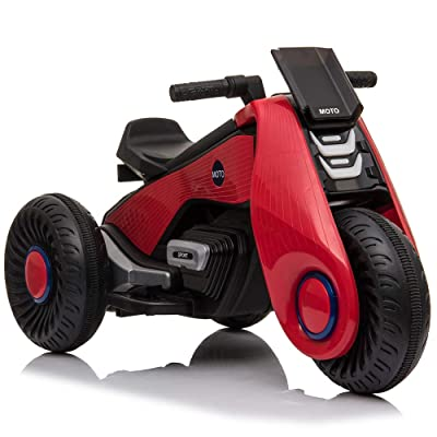 HomVent Kids Ride on Motorcycle, 6V Battery Powered Electric Motorcycle 3 Wheels Double Drive Toy for 3-8 Years Old Children Boys & Girls Birthday Christmas Gift (Red) : Baby