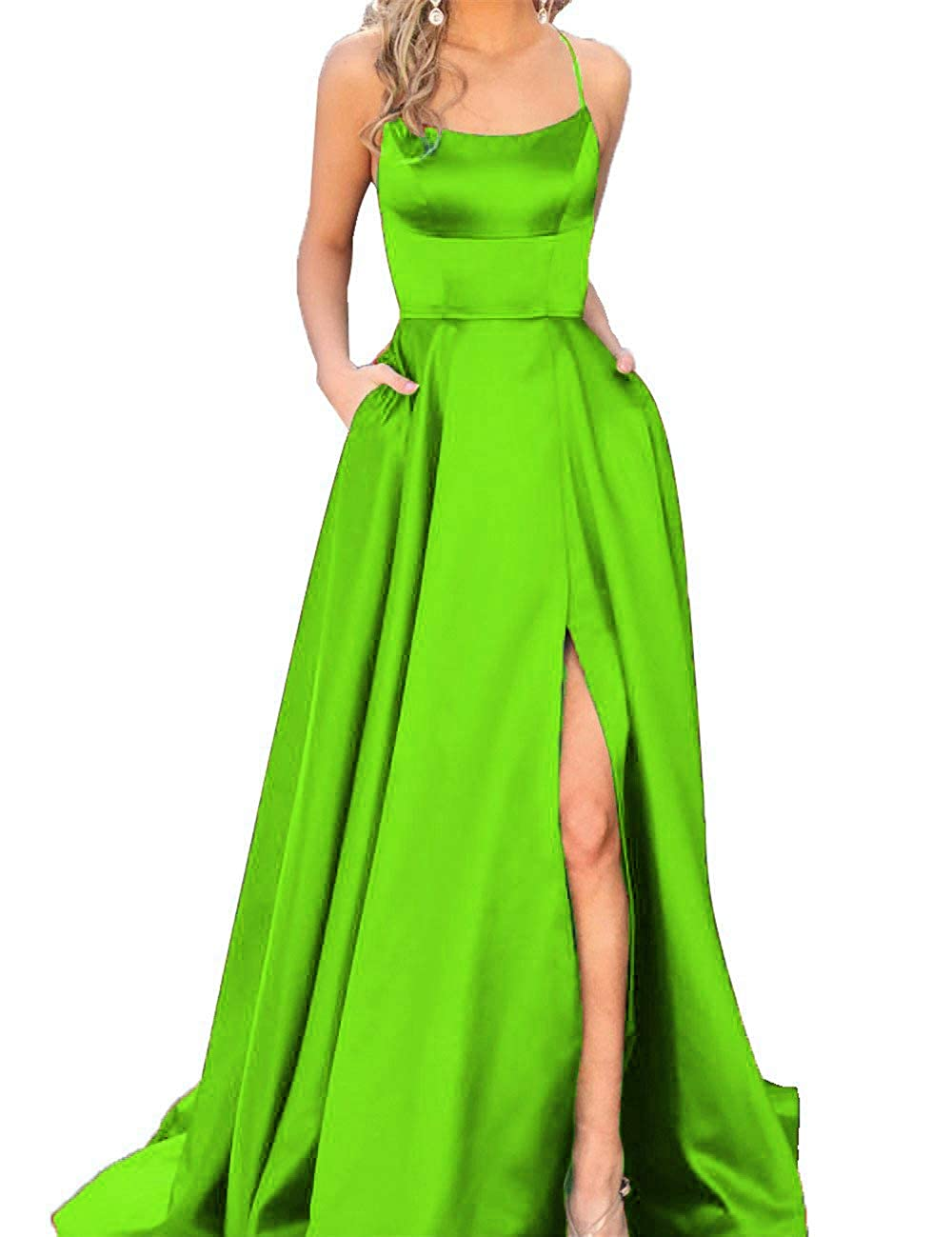 Lime Green Fanciest Women's Halter Slit Satin Prom Dresses Long Backless Evening Formal Gowns