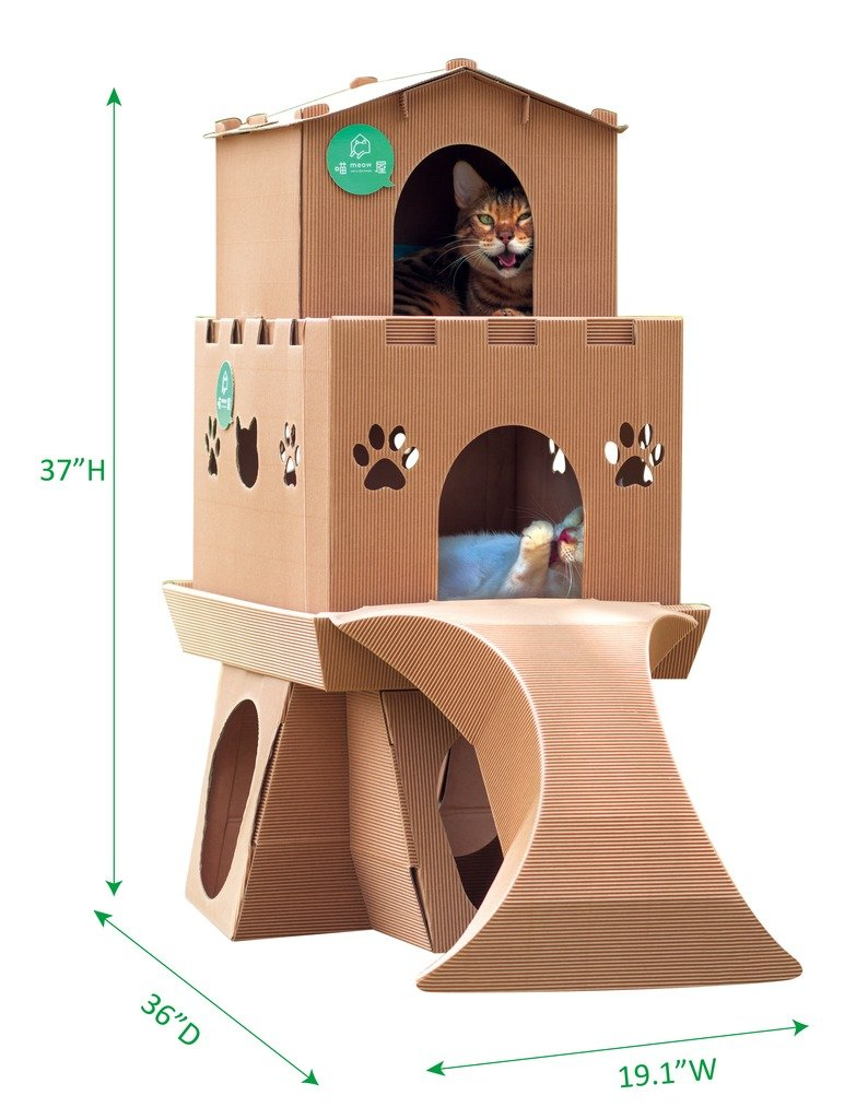 Taiwan Present Meow House Cardboard Corrugated Paper Cat Playground - Kitty Castle