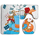 3 Piece Non-Slip Bathroom Rugs Art Poker Hat Set Living Room Anti-skid Pads Bath Mat + U Shaped Contour Rug + Toilet Lid Cover