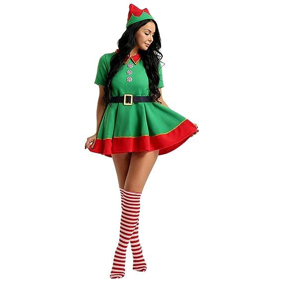 7c089a6c499aa Alvivi Déguisement Femme Elfe Robe de Noël Cosplay Costume de Carnaval  Party Costume Elf Chapeau Lutin Fête Adulte Enfant  Amazon.fr  Vêtements et  ...