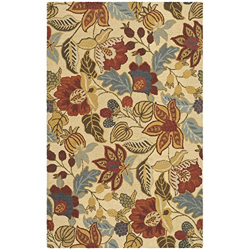 Safavieh Jardin Collection JAR952A Handmade Beige and Multi Premium Wool Area Rug (8' x 10')